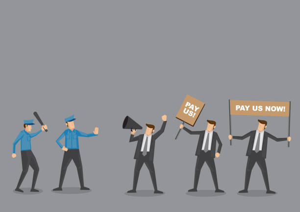 Police vs Employees on Riot Vector Cartoon Police trying to control angry employees on protest to demand for wages. Cartoon vector illustration concept for social issues isolated on grey background. minimum wage stock illustrations
