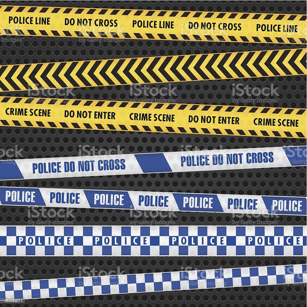 Police Warning Tapes vector art illustration