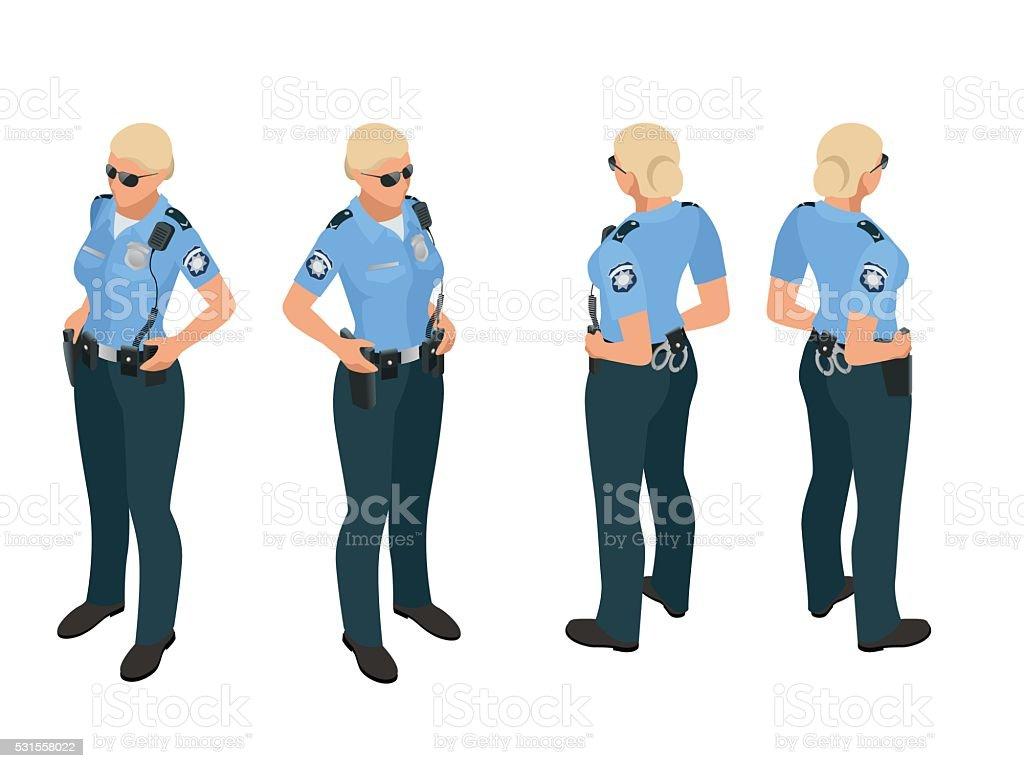 Police woman in uniform. vector art illustration