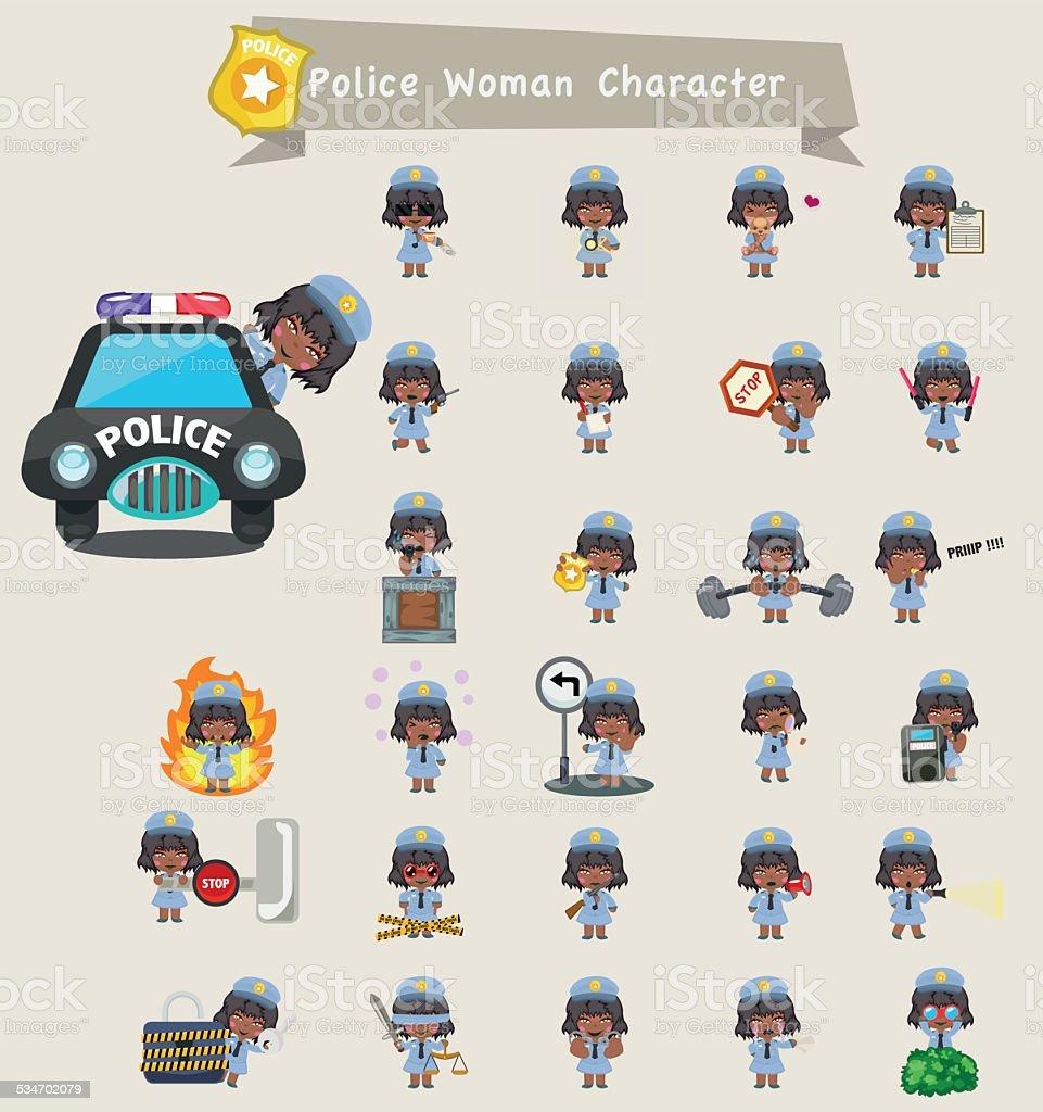 police women character set vector art illustration