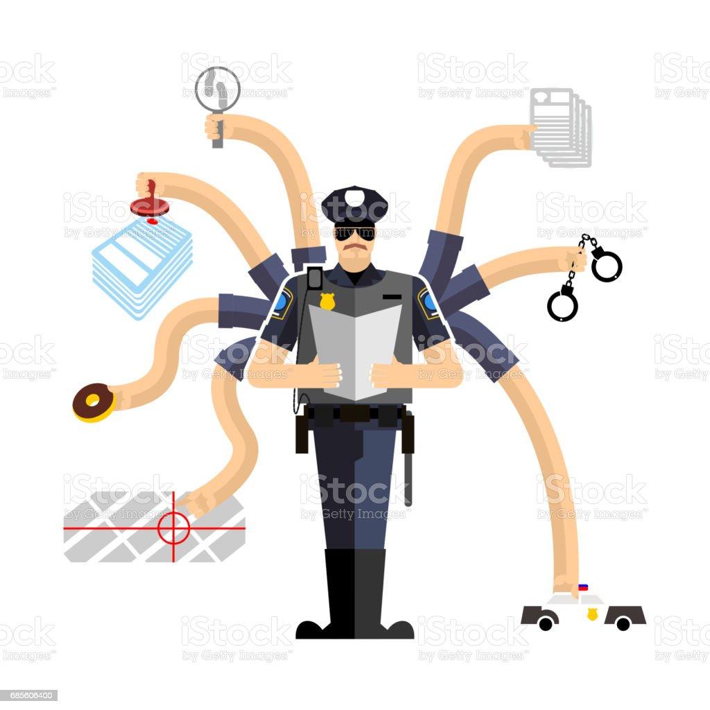 員警工作。值班的警官拘留罪犯。手銬和甜甜圈員警調查員警被罰款 免版稅 員警工作值班的警官拘留罪犯手銬和甜甜圈員警調查員警被罰款 向量插圖及更多 criminal investigation 圖片