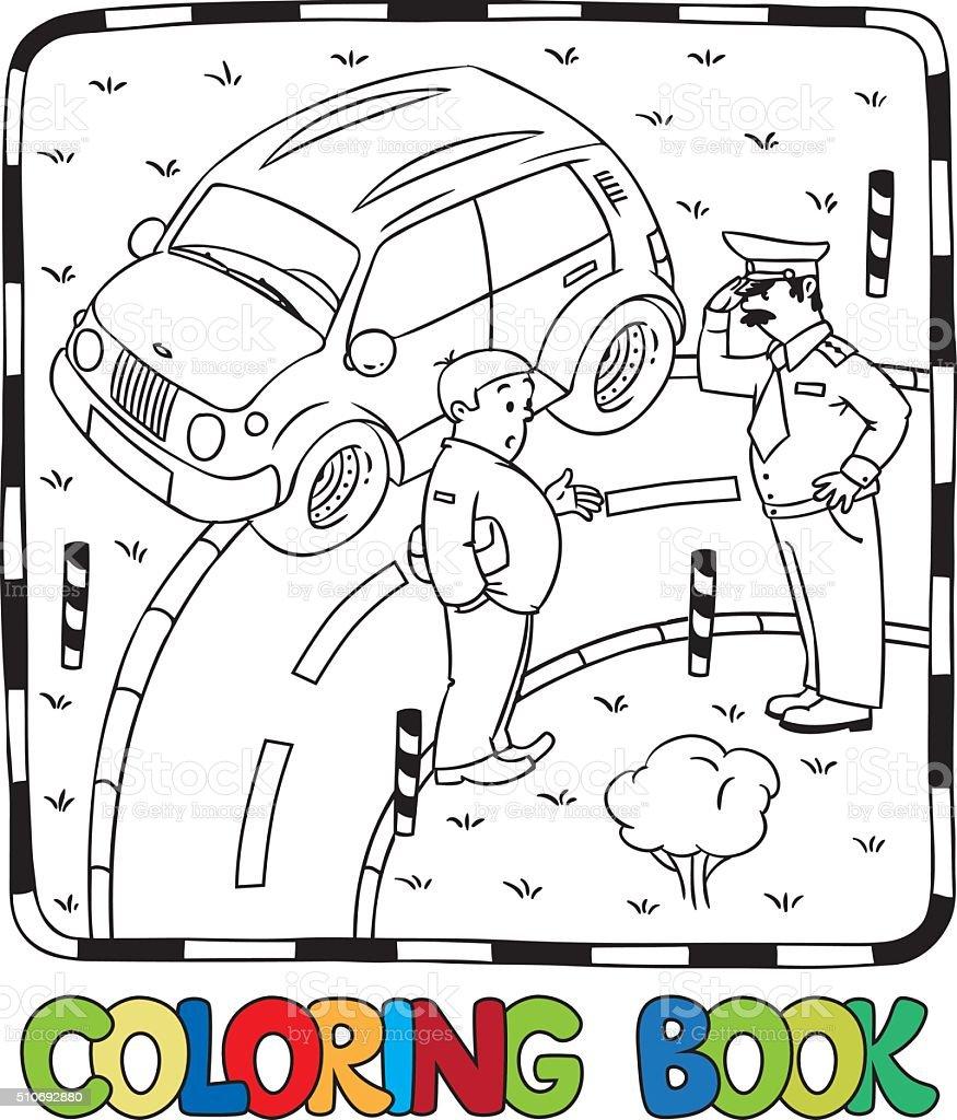Ilustración de Coche De Policía Y Destornillador Libro Para Colorear ...