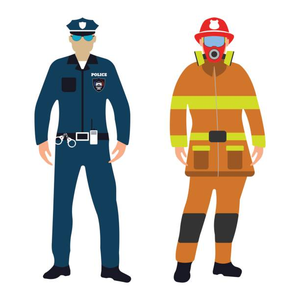 Policeman and Fireman cartoon icon. Service 911. Policeman and Fireman flat icon. Service 911. Cartoon Vector illustration. police meeting stock illustrations