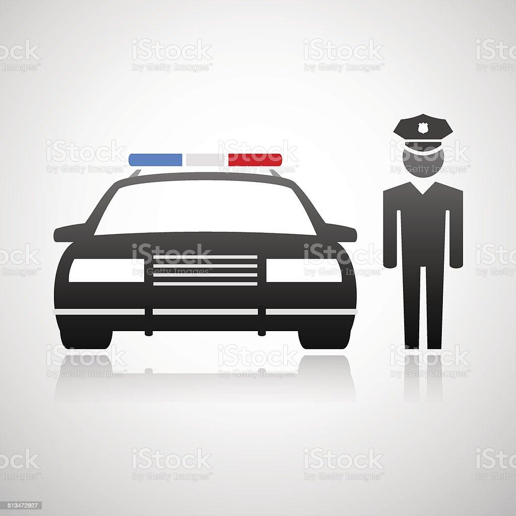 Policeman and police car vector art illustration
