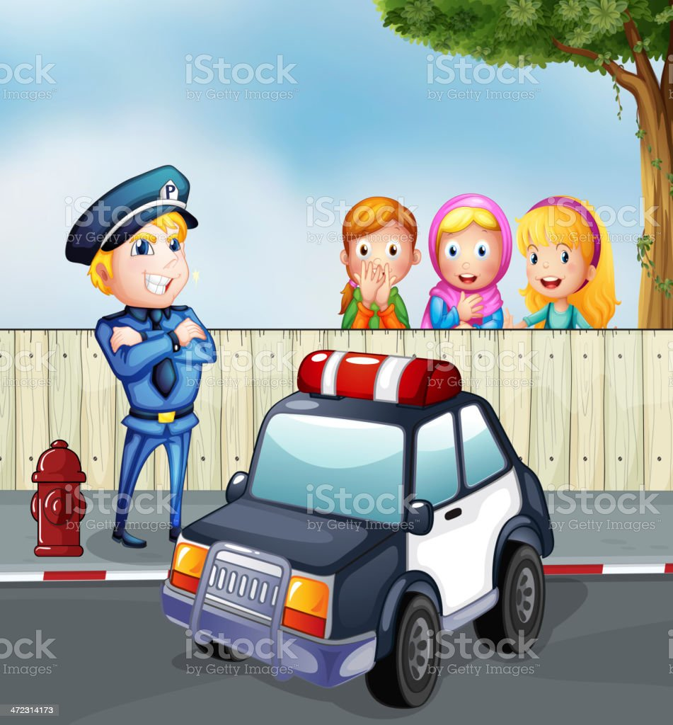 Policeman and three girls outside the fence royalty-free stock vector art