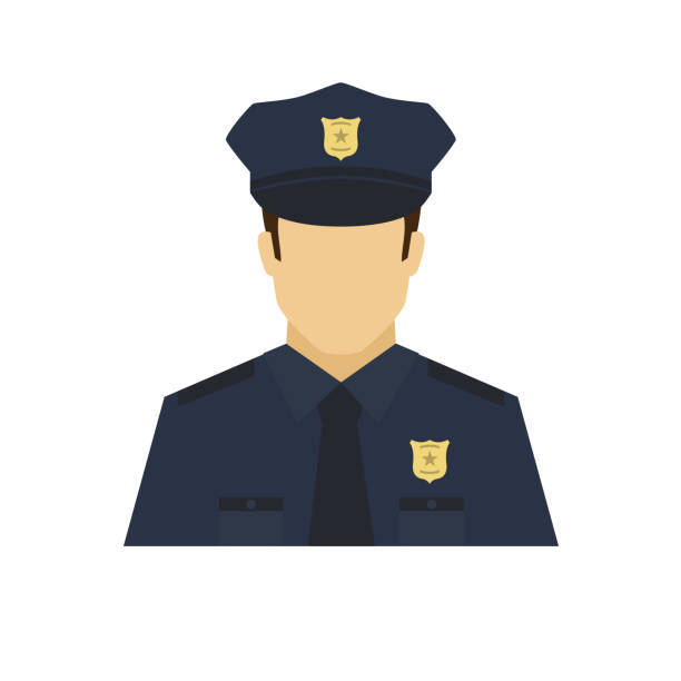 illustrazioni stock, clip art, cartoni animati e icone di tendenza di policeman avatar icon. profession logo. male character. a man in professional clothes. people specialists. flat simple vector illustration. - polizia