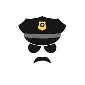 Policeman avatar. Police officer icon. Vector illustration.