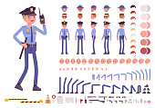 Policeman character creation set. Full length officer, different views, emotions, gestures, professional tools and attributes. Build your own design. Cartoon flat-style infographic illustration