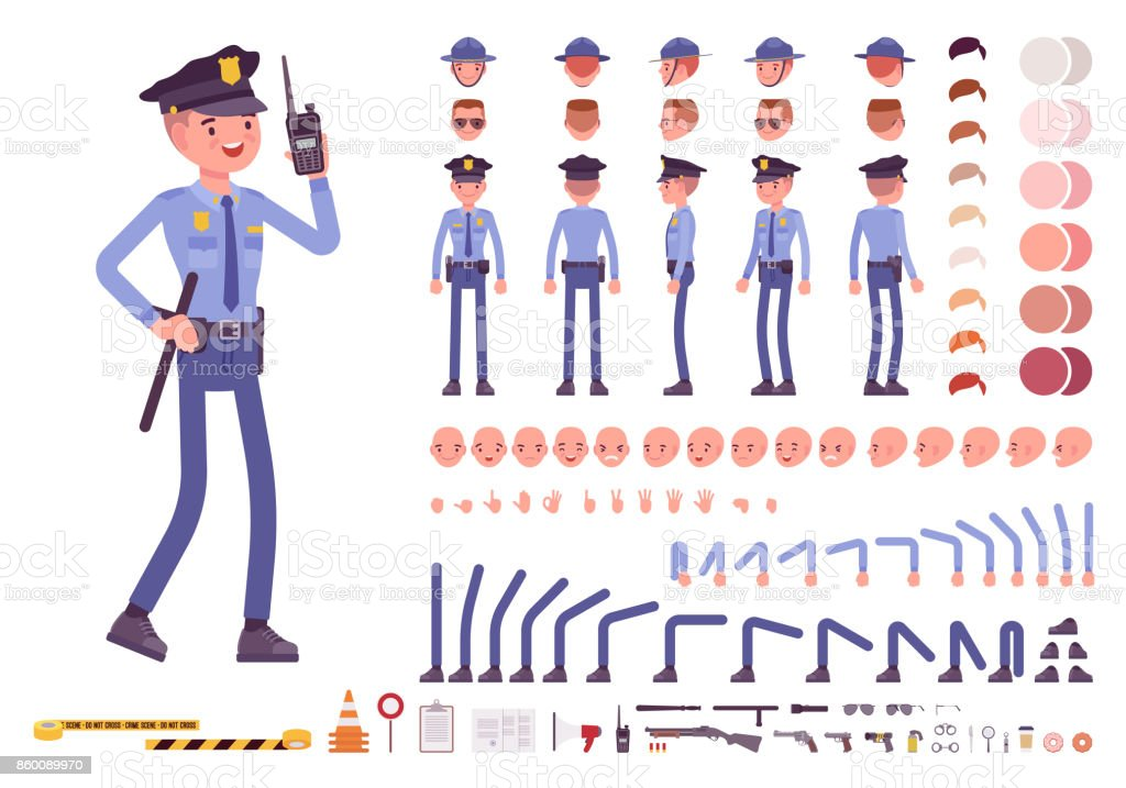 Policeman character creation set vector art illustration