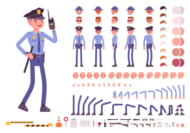 Policeman character creation set Policeman character creation set. Full length officer, different views, emotions, gestures, professional tools and attributes. Build your own design. Cartoon flat-style infographic illustration police uniform stock illustrations