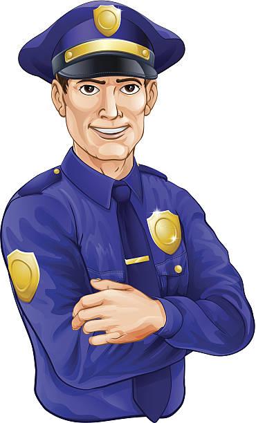 polizisten charakter - rechtsassistent stock-grafiken, -clipart, -cartoons und -symbole