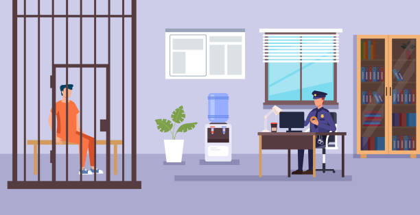 illustrations, cliparts, dessins animés et icônes de personnage policier travaillant. service de police concept de système bas. illustration de dessin animé graphique plat de conception vectorielle - bureau police
