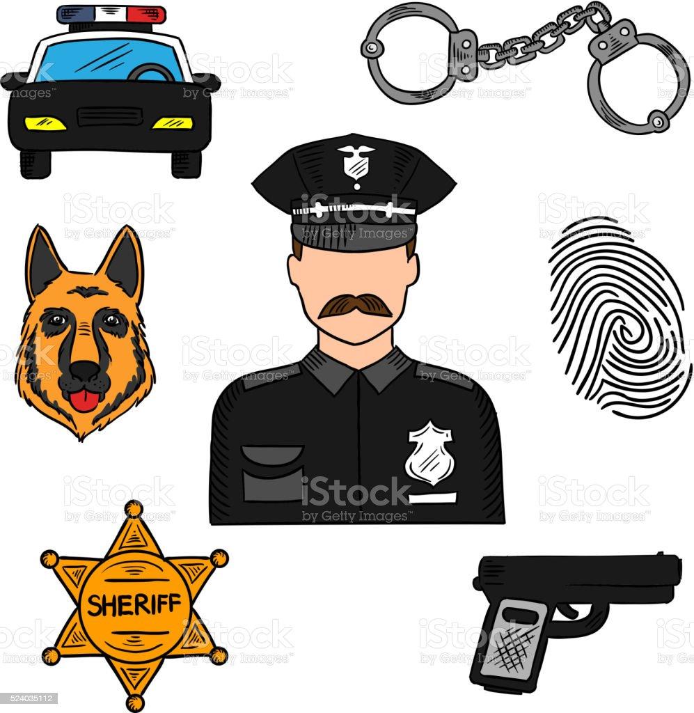 Polícia Desenho em Cores para profissões projeto - ilustração de arte em vetor