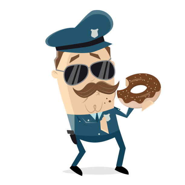 policeman eating donut vector art illustration