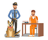 Policeman Guarding Criminal Vector Illustration