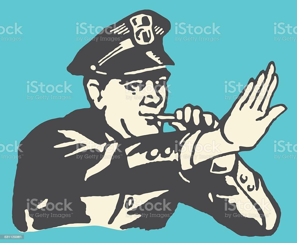 Policeman Halting Traffic vector art illustration