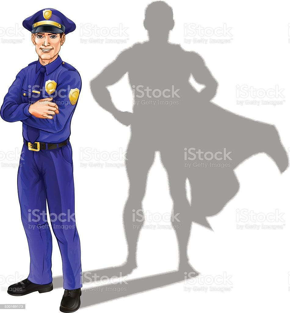 Policeman Hero vector art illustration
