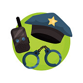 Policeman icon, police professional equipment cartoon vector Illustration isolated on a white backgroun