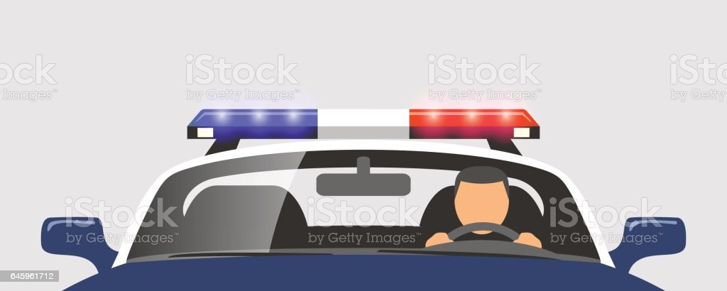Policeman in the police car vector art illustration