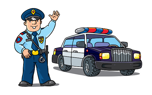 Policeman In Uniform And Police Car Cartoon Set Stock Illustration Download Image Now Istock
