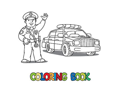 Policeman in uniform and police car. Coloring book