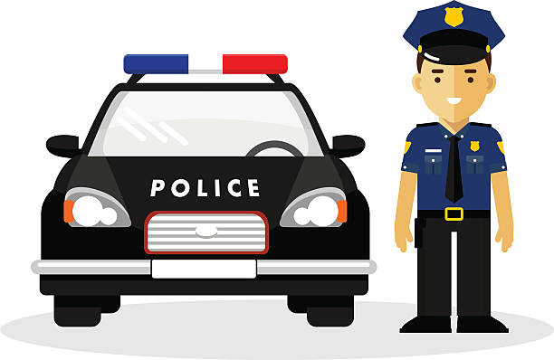 Policeman in uniform Policeman officer on city background with police car in flat style police car stock illustrations