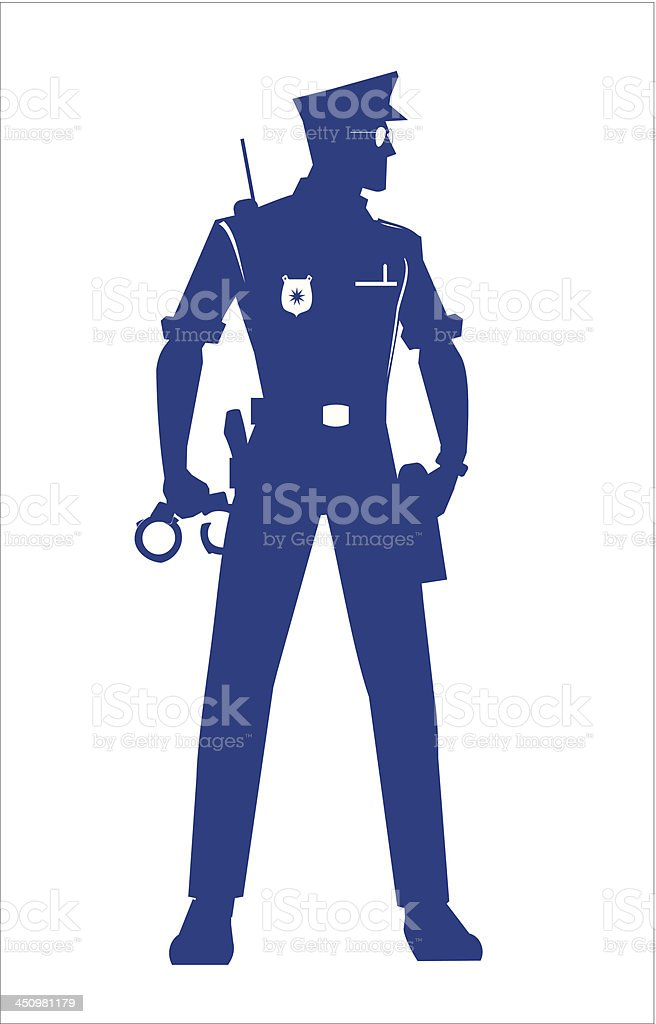 Policeman isolated, full body silhouette. royalty-free stock vector art