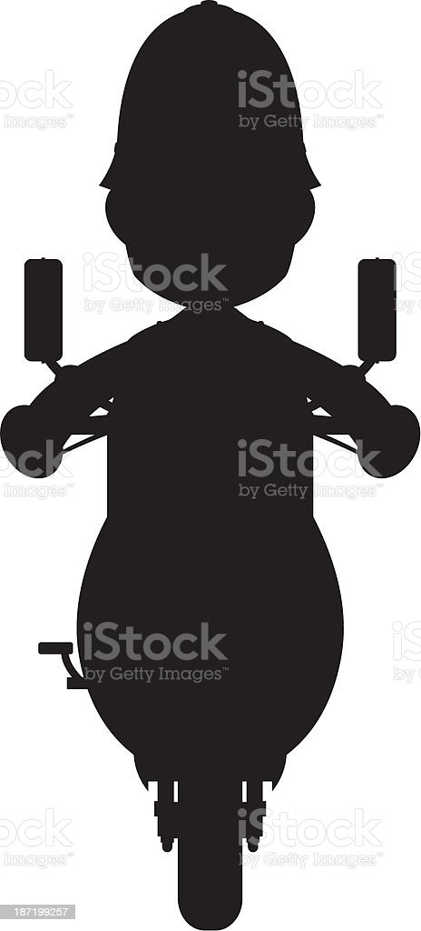Policeman on Scooter in Silhouette. royalty-free policeman on scooter in silhouette stock vector art & more images of black and white