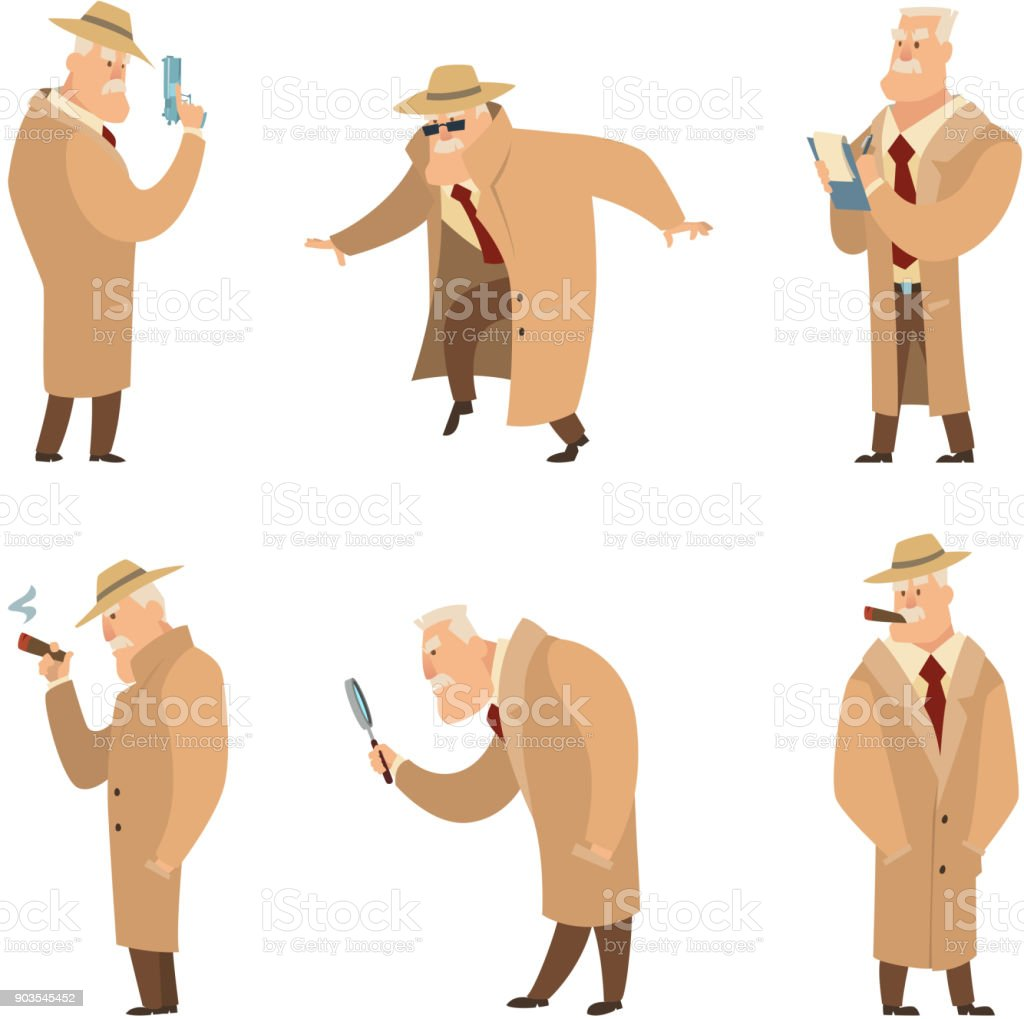 policeman or detective search criminal vector set of funny