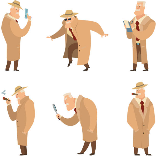 Policeman or detective search criminal. Vector set of funny characters Policeman or detective search criminal. Vector set of funny characters detective man in different situation illustration detective stock illustrations