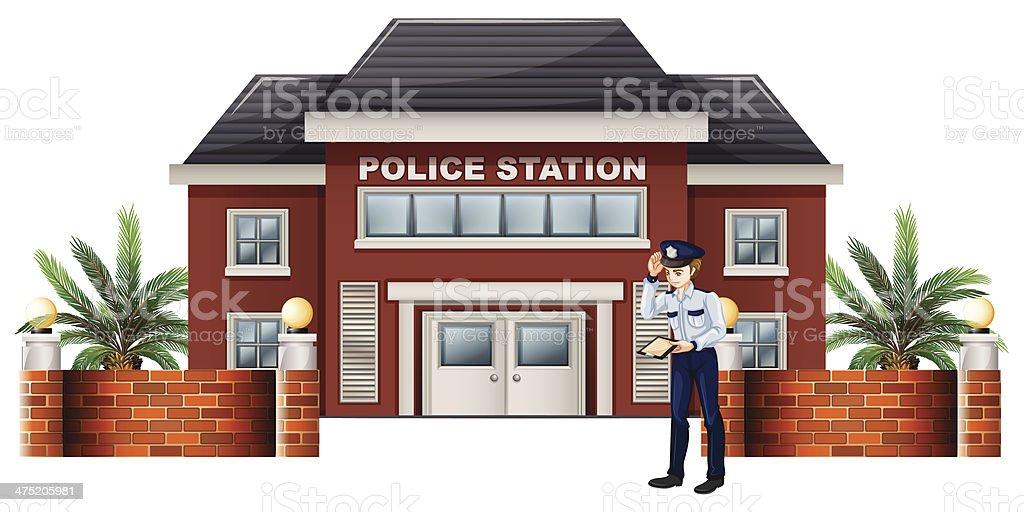 policeman outside the police station vector art illustration