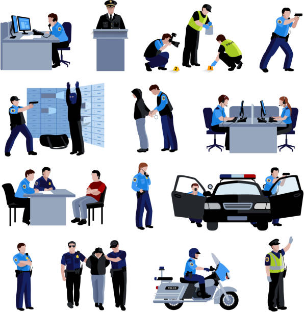 policeman people icons - call center stock illustrations