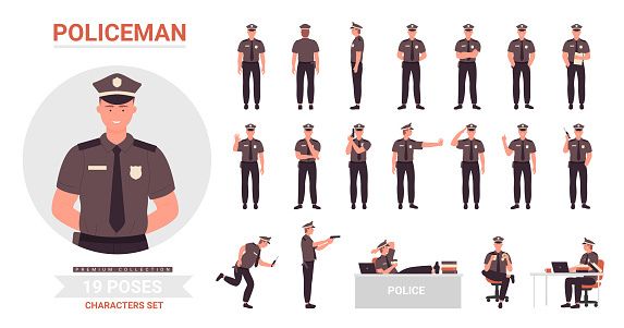 Policeman poses set, cartoon police officer man character working in office or street postures