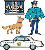 "Cartoon style illustration of police department items. Create your own backdrop or dance them around the layout. Scale to any size. Grouped for easy separation. Color changes a snap. Check out my ""Cartoon City"" or ""Vector Emergency Service & Law"" light boxes for more."