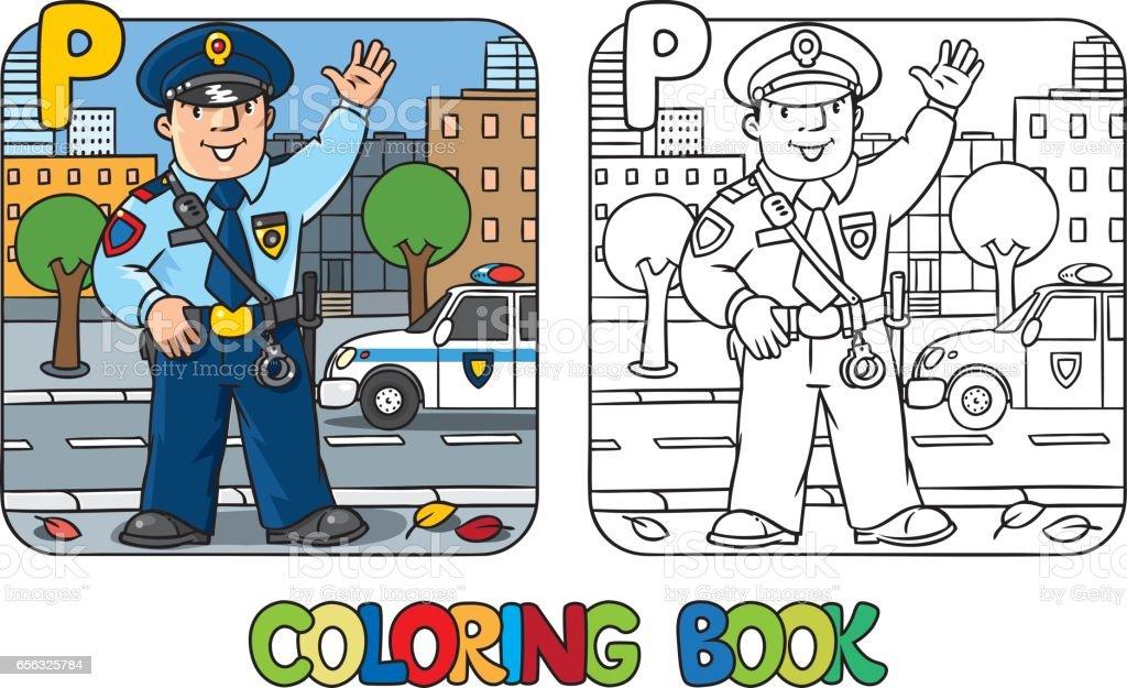 Polis Meslek Abc Alfabe P Boyama Kitabi Stok Vektor Sanati