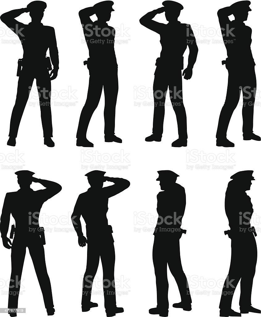 policeman saluting vector art illustration