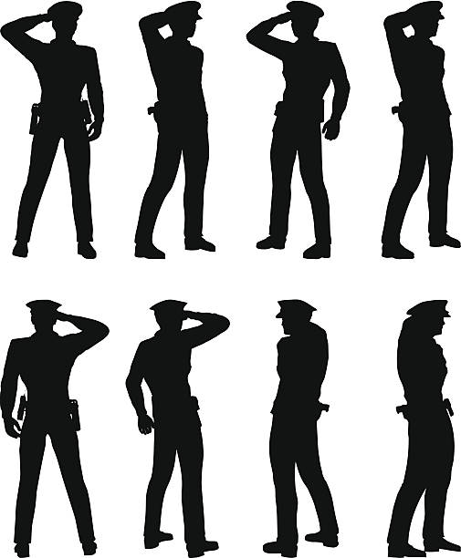 policeman saluting EPS 10 Vector of officer, policeman saluting saluting stock illustrations