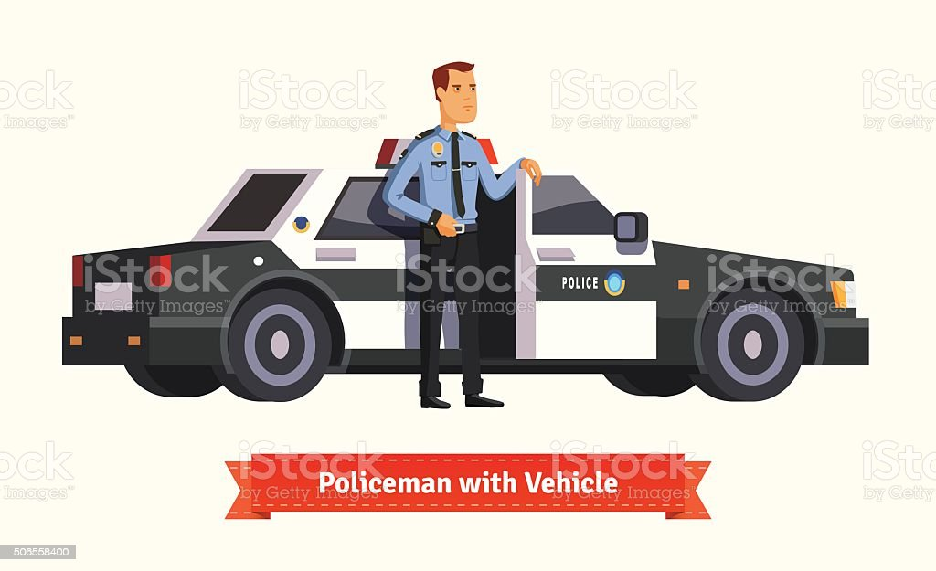 Policeman standing in from of his car vector art illustration