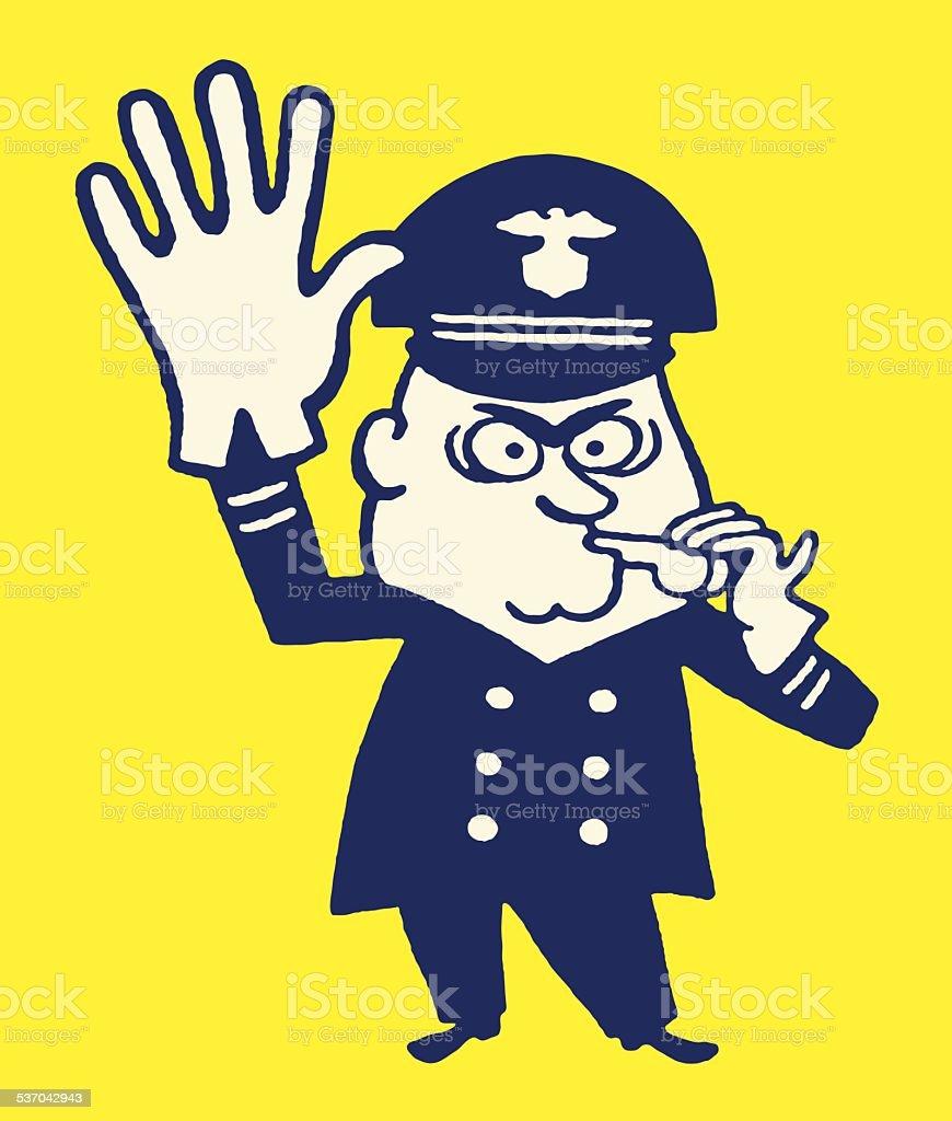 Policeman Stop! vector art illustration