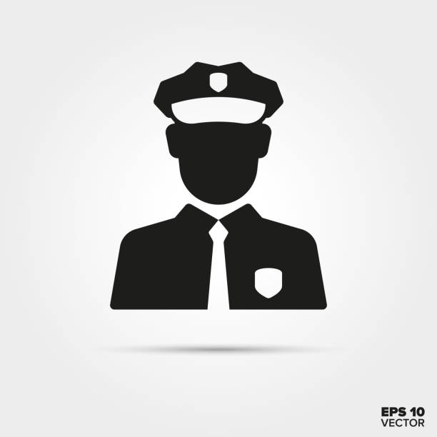 illustrazioni stock, clip art, cartoni animati e icone di tendenza di policeman vector icon - polizia