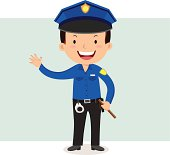 Vector illustration of a friendly police officer waving his hand.