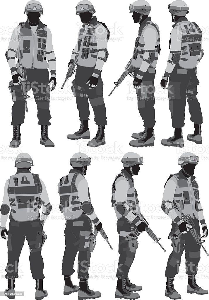 SWAT Policeman vector art illustration