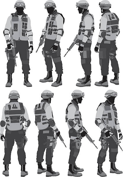 swat policeman - army soldier stock illustrations, clip art, cartoons, & icons