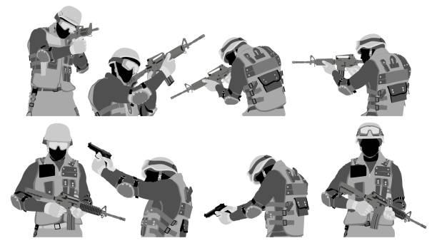 銃 構える イラスト素材 Istock