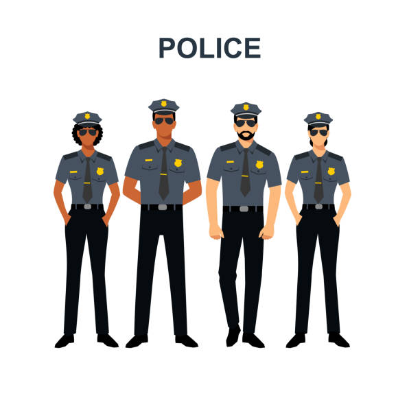 illustrazioni stock, clip art, cartoni animati e icone di tendenza di policeman with different skin colors of men and women. - polizia
