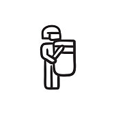 Policeman with shield and baton sketch icon