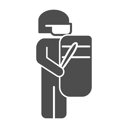 Policeman with shield solid icon,  concept, No violence against blacks sign on white background, Uniformed officer standing with shield and baton icon in glyph. Vector.