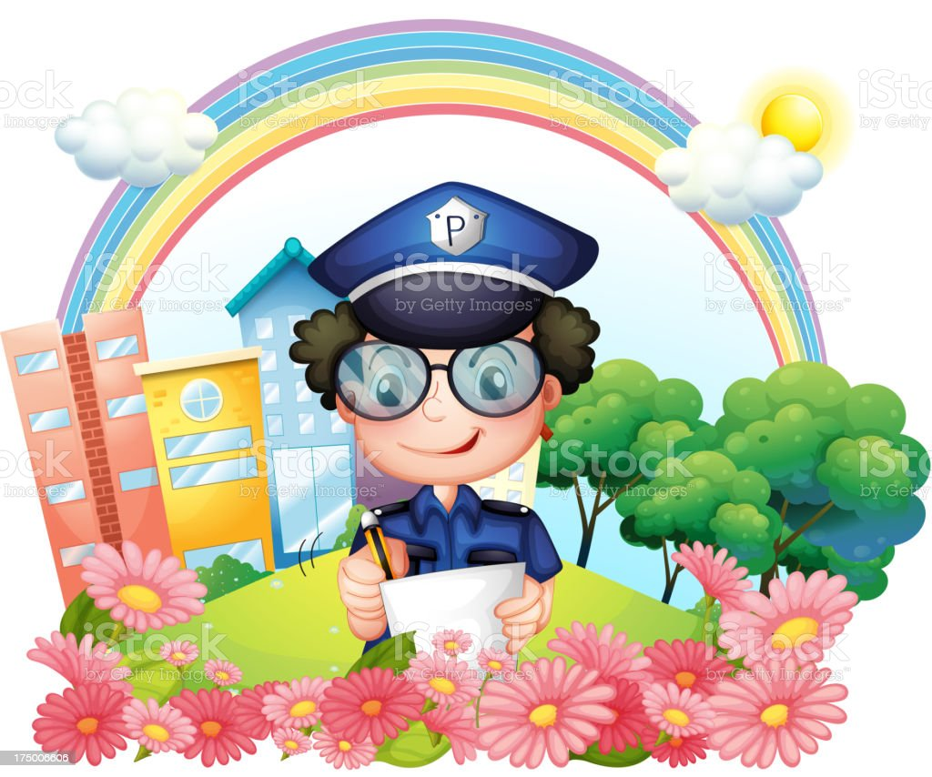 Policeman writing near the flowers royalty-free stock vector art