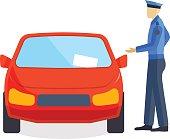 Policeman writing speeding ticket driver parking attendant traffic warden car