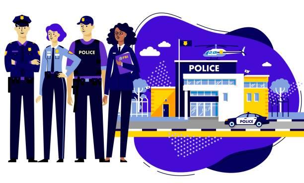 illustrations, cliparts, dessins animés et icônes de policiers et bâtiment de poste de police sur l'arrière-plan moderne dans le modèle plat à la mode. - bureau police